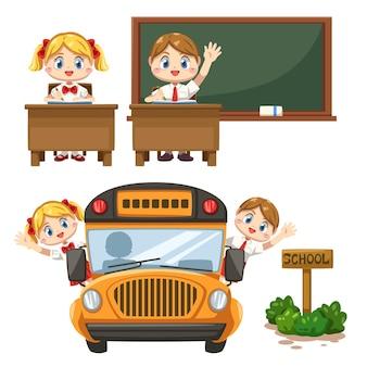 Conjunto de menino e menina vestindo uniforme de estudante em sala de aula, quadro-negro e sentados no ônibus escolar