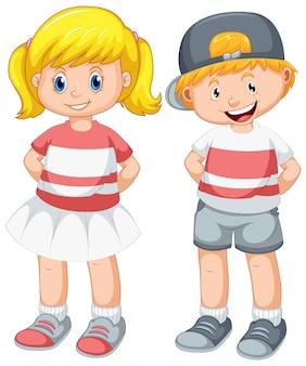 Conjunto de menino e uma menina fofos