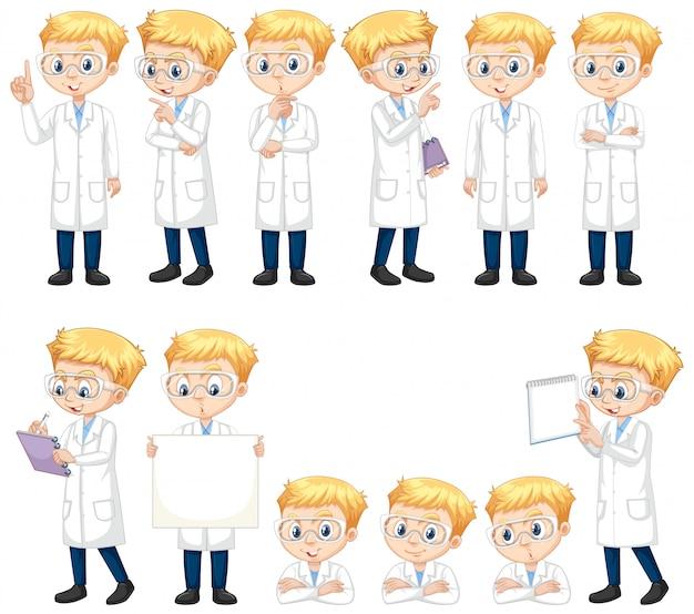 Conjunto de menino em bata de laboratório fazendo poses diferentes