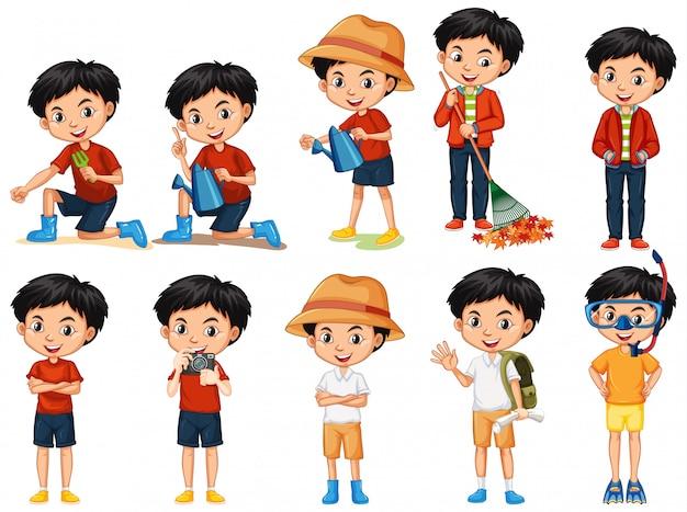 Conjunto de menino fazendo atividades diferentes em branco