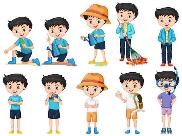 Conjunto de menino feliz fazendo atividades diferentes em fundo isolado