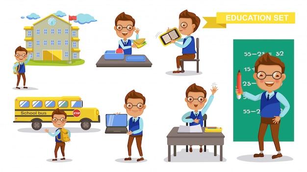 Conjunto de menino primário. atividade de estudante estudante e volta ao conceito de escola.