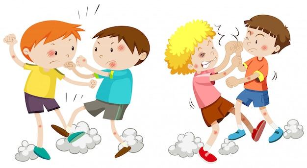 Conjunto de meninos brigando