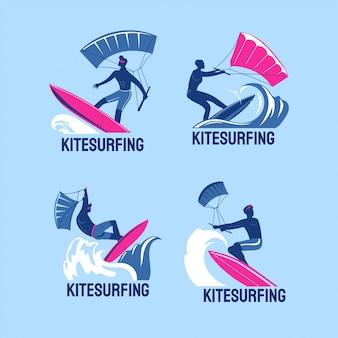 Conjunto de meninos de kitesurf voando sobre as ondas