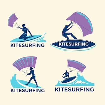 Conjunto de meninos de kitesurfistas voando sobre as ondas