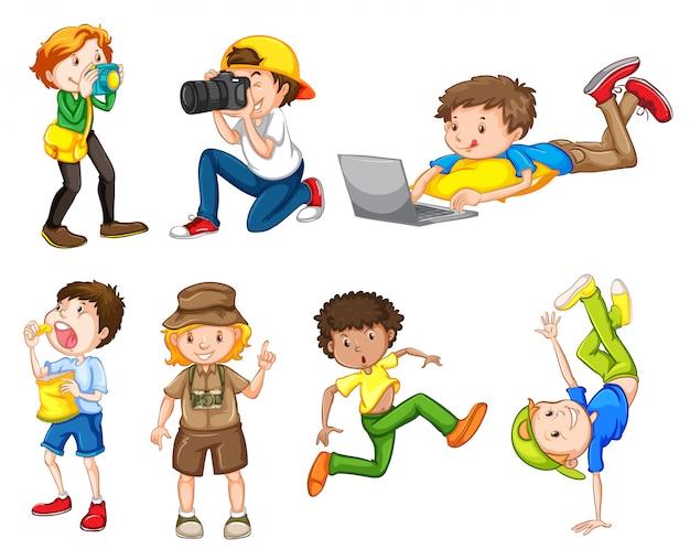 Conjunto de meninos diferentes