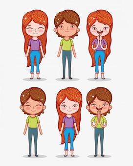 Conjunto de meninos e meninas bonitos com penteado e roupas