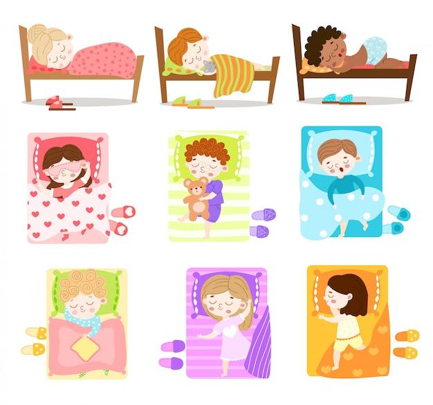 Conjunto de meninos e meninas dormindo em suas camas. ilustração em estilo cartoon plana.