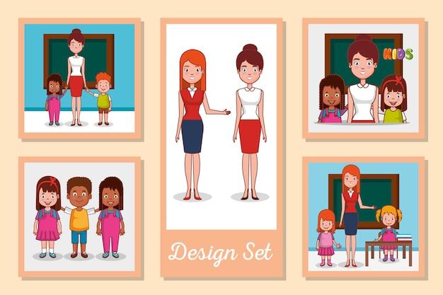 Conjunto de meninos e meninas em cartões de escola