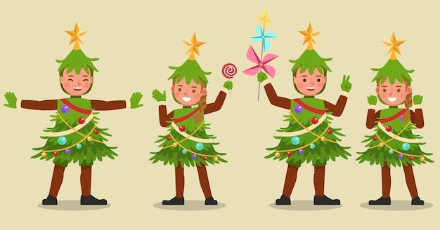 Conjunto de meninos e meninas usando fantasias de árvore de natal