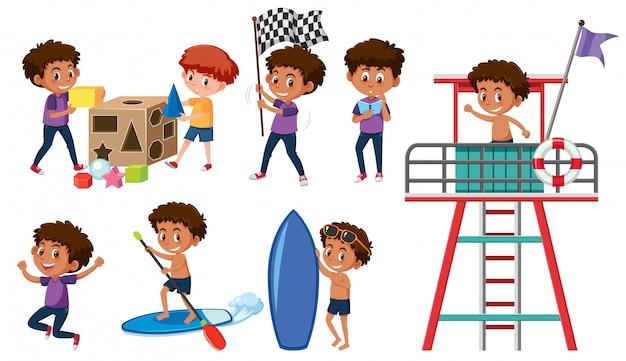 Conjunto de meninos fazendo atividades
