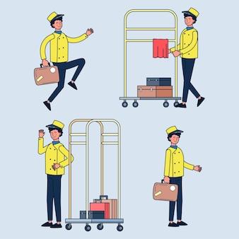 Conjunto de mensageiro carregando malas