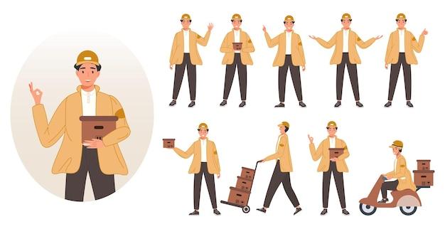 Conjunto de mensageiros em diferentes poses