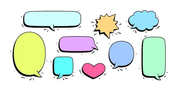Conjunto de mensagem de bate-papo, conversa na nuvem, bolha do discurso.