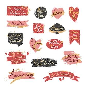 Conjunto de mensagem doce romântico dos namorados
