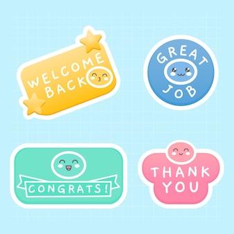 Conjunto de mensagens de adesivos planos com emojis fofos