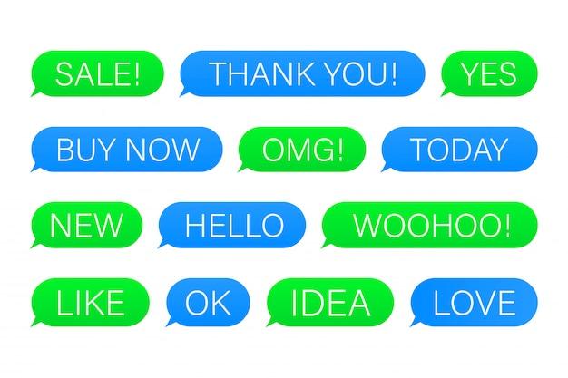 Conjunto de mensagens de bolhas de sms com palavras de diálogo.