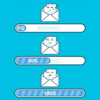 Conjunto de mensagens de emoji em letras com barra de envio de progresso.