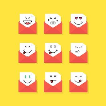 Conjunto de mensagens de emoji em letras. conceito de triste, satisfazer, novo sms, chat, ódio, foodie, entediado, yum-yum, postagem, raiva, morto. estilo plano tendência logotipo moderno design gráfico em fundo amarelo