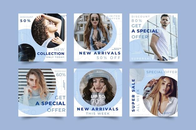 Conjunto de mensagens de mídia social de venda de moda