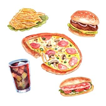 Conjunto de menu de almoço de fast food de aquarela