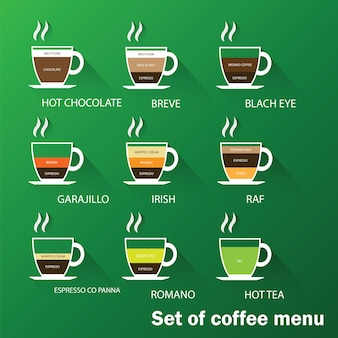 Conjunto de menu de café com uma xícara de café bebidas Vetor Premium