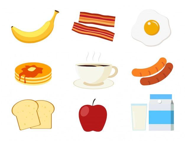 Conjunto de menu de café da manhã