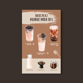 Conjunto de menu de chá de leite de bolha de açúcar mascavo, anúncio conteúdo vintage, ilustração de aquarela