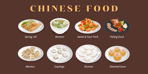 Conjunto de menu de comida chinesa