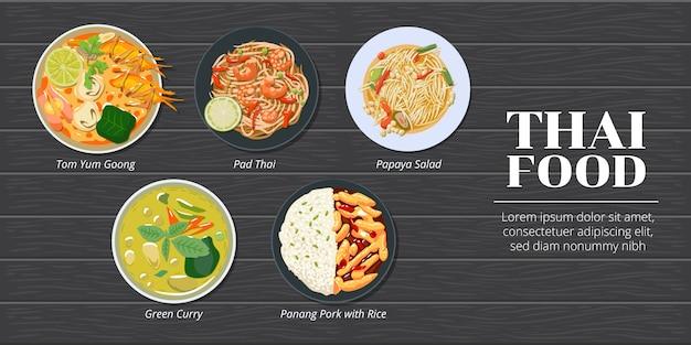 Conjunto de menu de comida tailandesa