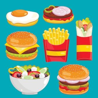 Conjunto de menu de fast-food