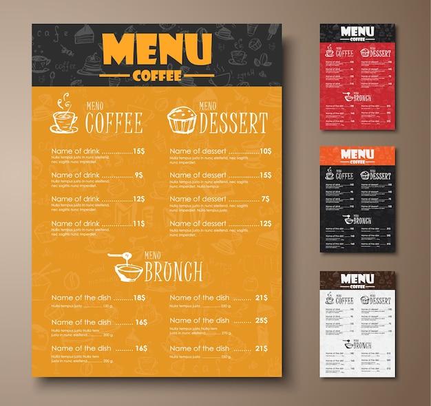 Conjunto de menu de restaurante