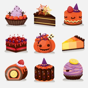 Conjunto de menu de sobremesa de halloween. bolo doce de halloween.