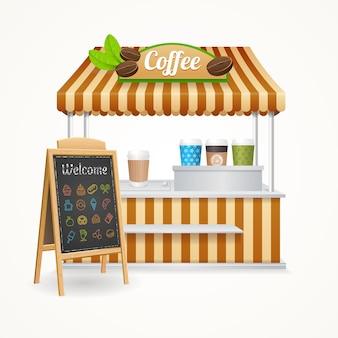 Conjunto de mercado de rua de café e quadro-negro de menu.