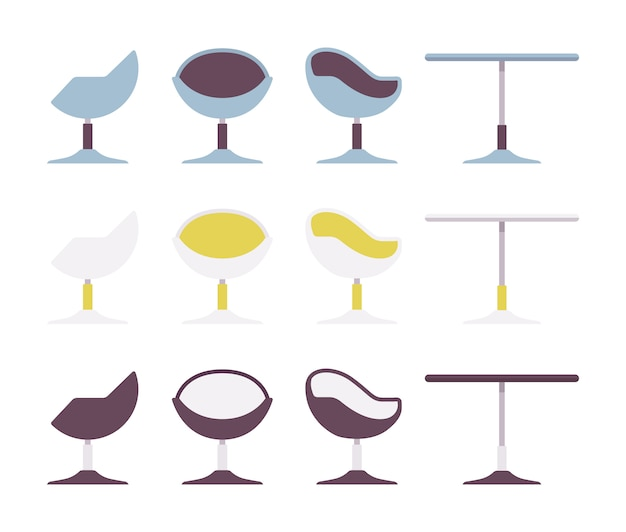 Conjunto de mesa de café e cadeira