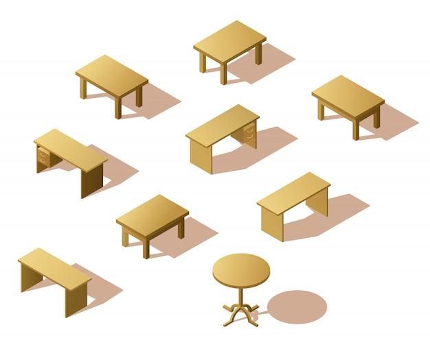 Conjunto de mesa de madeira isométrica