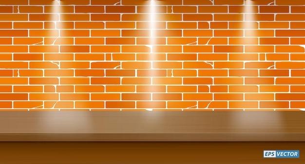 Conjunto de mesa em branco realista simulado com fundo de parede ou mesa em branco com luz para baixo ou simulado para cima