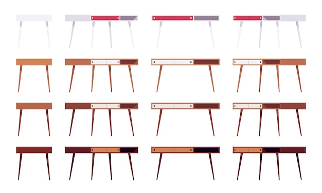 Conjunto de mesas com gavetas
