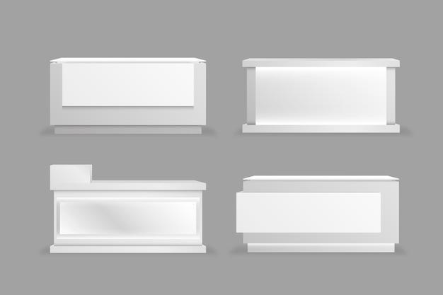 Conjunto de mesas de balcão de recepção