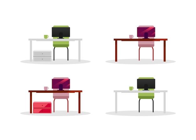 Conjunto de mesas de escritório com objetos de cor plana de computadores. telas de computador. equipamentos corporativos e móveis isolados de ilustração de desenhos animados para web design gráfico e coleção de animação