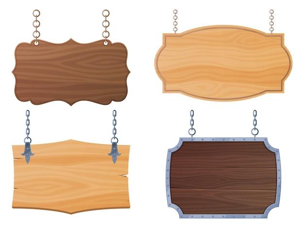 Conjunto de mesas de madeira, placas de índices estão penduradas em cadeias de bandeiras para pontos antigos de bares e salões ...