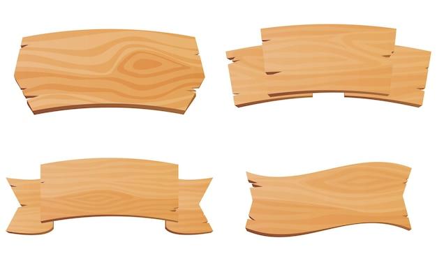 Conjunto de mesas de madeira, sinais de índices, banners para bares e salões, ponteiros antigos feitos de madeira, vetor ...