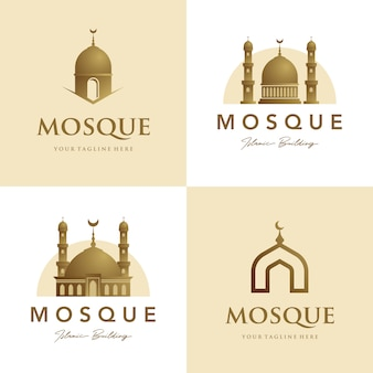 Conjunto de mesquita logotipo símbolo islâmico de ouro