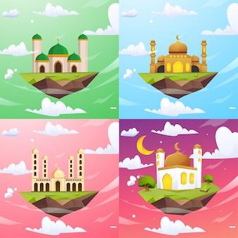 Conjunto de mesquitas flutuando no céu