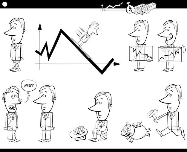 Conjunto de metáforas de desenhos animados de negócios