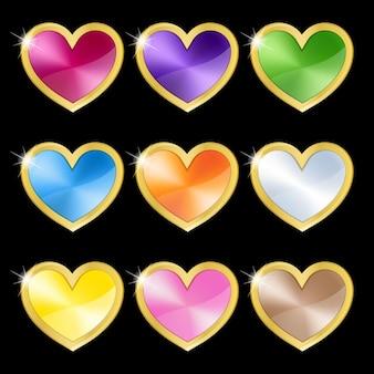 Conjunto de metal da cor do dia dos namorados com ícone de moldura dourada