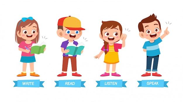Conjunto de método de aprendizagem básica de filhos bonitos felizes