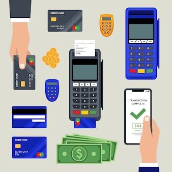 Conjunto de método de pagamento do conceito