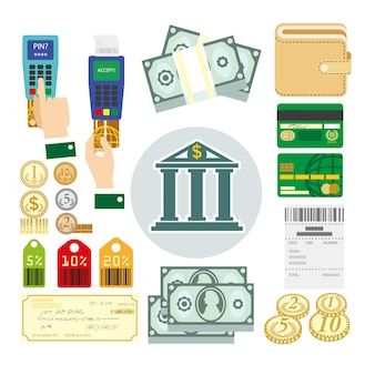 Conjunto de métodos de pagamento.