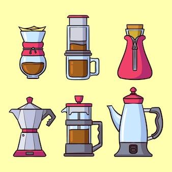 Conjunto de métodos de preparação de café de design plano
